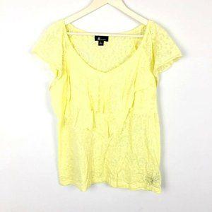 (M-27) AB Studio Large Yellow Blouse Floral